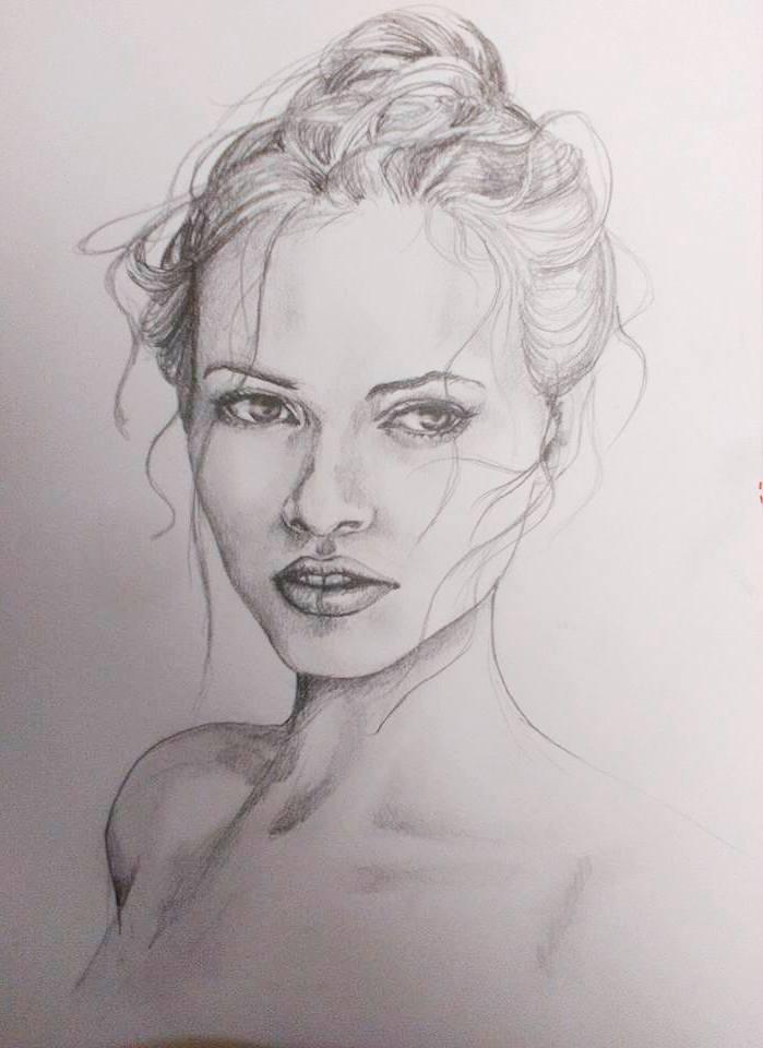 Ela portrét ceruzkou