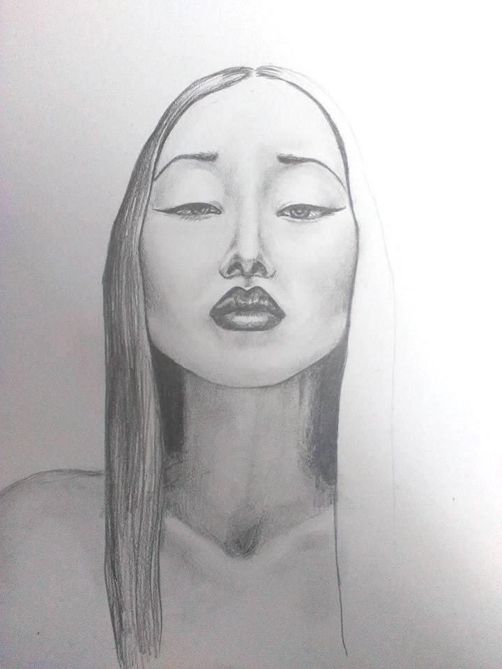 Lia potrét ceruzkou