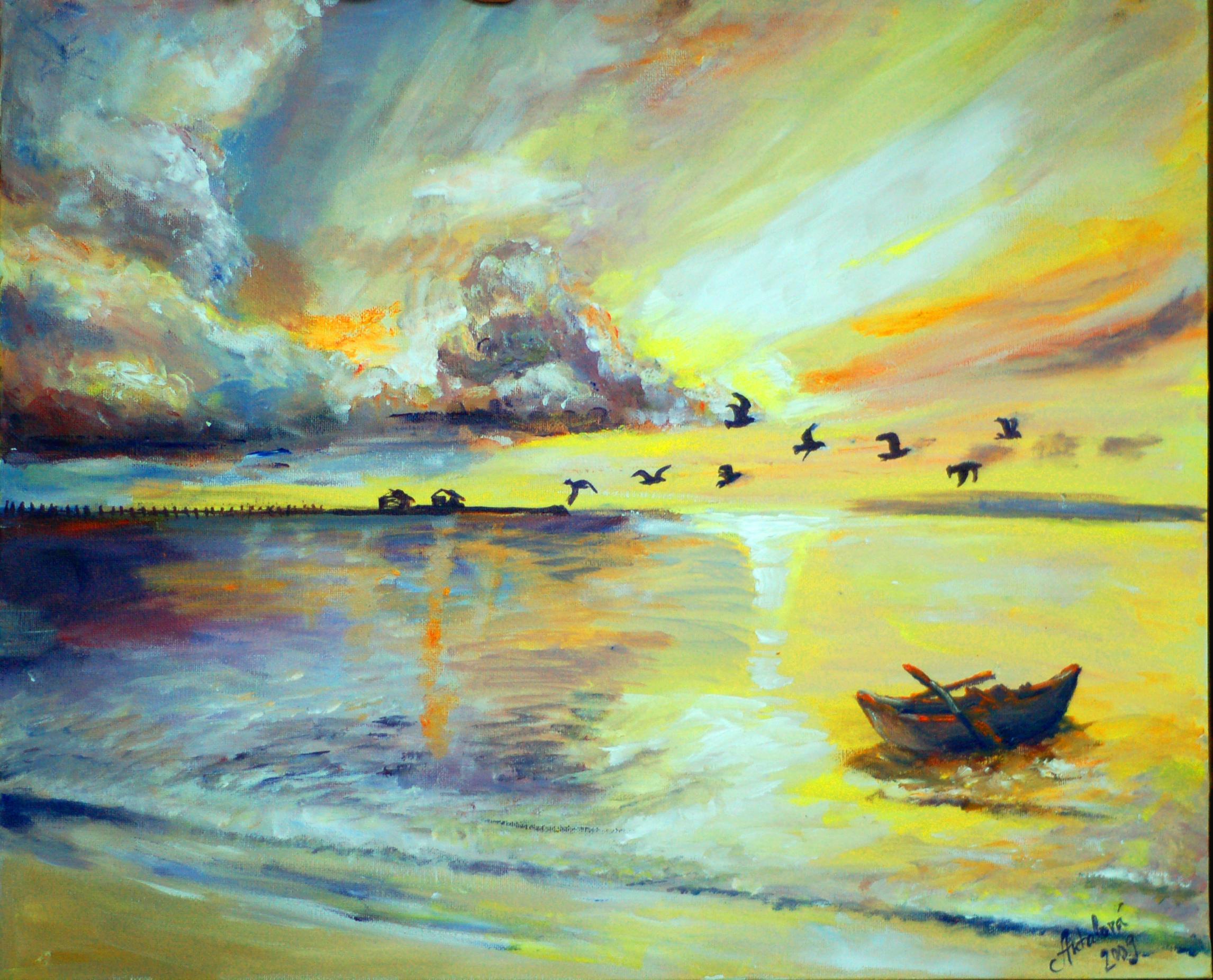 Západ slnka na mori